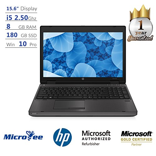 HP Laptop 15.6 Inch 6570b Intel Core i5-3210m 2.50GHz 8GB DDR3 Ram 180GB SSD DVD-ROM Windows 10 Pro (Certified Refurbished) Core I5 Laptop