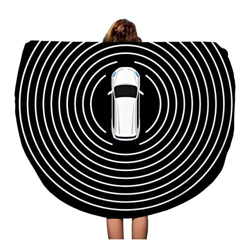 (Semtomn 60 Inches Round Beach Towel Blanket Autonomous Car Top View Self Driving Vehicle Radar Sensing Travel Circle Circular Towels Mat Tapestry Beach Throw)