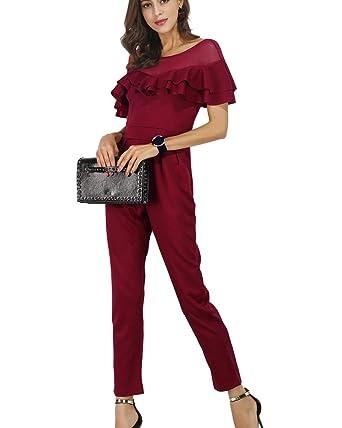 Damen Einfarbig Mesh Elegante Jumpsuit Rüschen Schlank Lang Hosen Overalls   Amazon.de  Bekleidung 5e862ada5d