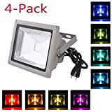 4-Pack LOFTEK 10W Waterproof Outdoor Security LED Flood Light Spotlight High Powered RGB Color Change(16 Different Color Tones) with Plug and Remote Control AC85V-265V , with 1 meter power plug