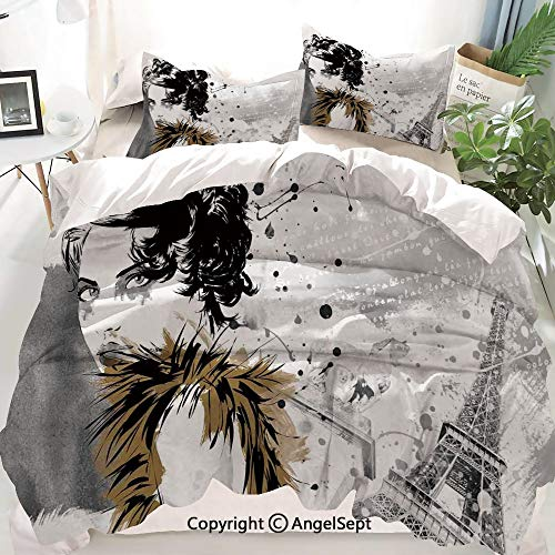 Homenon Modern Decor Decor Duvet Cover Set Twin Size,Posing Fashion Model Girl with Feathers and Dots Paris Eiffel Contemporary Art,Decorative 3 Piece Bedding Set with 2 Pillow Shams