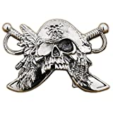 LINSION Cool Design Handmade Pirate Belt Buckle 925 Sterrling Silver 9C003