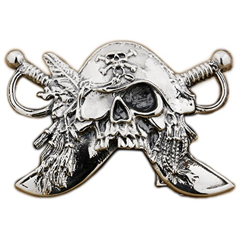 LINSION Cool Design Handmade Pirate Belt Buckle 925 Sterrling Silver 9C003 by LINSION