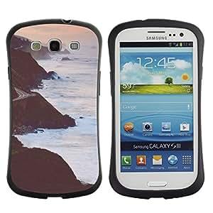 """Hypernova Slim Fit Dual Barniz Protector Caso Case Funda Para SAMSUNG Galaxy S3 III / i9300 / i747 [Acantilados Waves Pink cielo de la tarde""""]"""