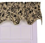 Ellis Curtain Palmer Floral Toile Lined Duchess Valance Window Curtain, Black