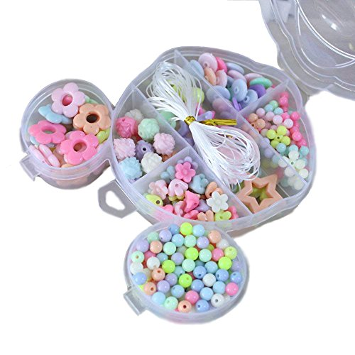 Elloapic 300 pcs Beads Maze Beading Supplies in a Mouse Shape Box,Stringing Beads,Children's DIY Beads Bracelet Hair Clasp Necklace Kids Handmade Skills Toy Beads Gifts Christmas,Birthday Wedding by Elloapic