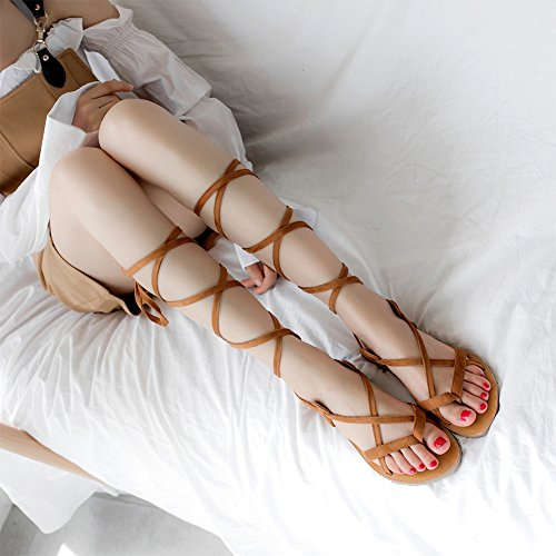Cruzadas Romanas XYM Romano Playa KJJDE Zapatos Toe Correas 6602 Chanclas Peep Zapatos Vendaje Estilo Mujer De Casuales Planas 6 De Brown Planos Sandalias wCxva0xtq