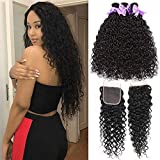 8A Water Wave 3 Bundles With Closure Free Part Ocean Curly Wet and Wavy Hair Bundles With 4x4inch...