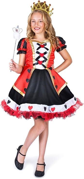 Disfraz de reina de corazones niña 4-6años (115cm-128cm): Amazon ...