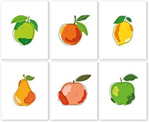 Fruit and Citrus Wall Art Prints Set - Unframed 8x10 - Pear Apple Orange Lemon Lime - Colorful Food Decoration Poster for Kitchen - Positive Picture for Dining Room