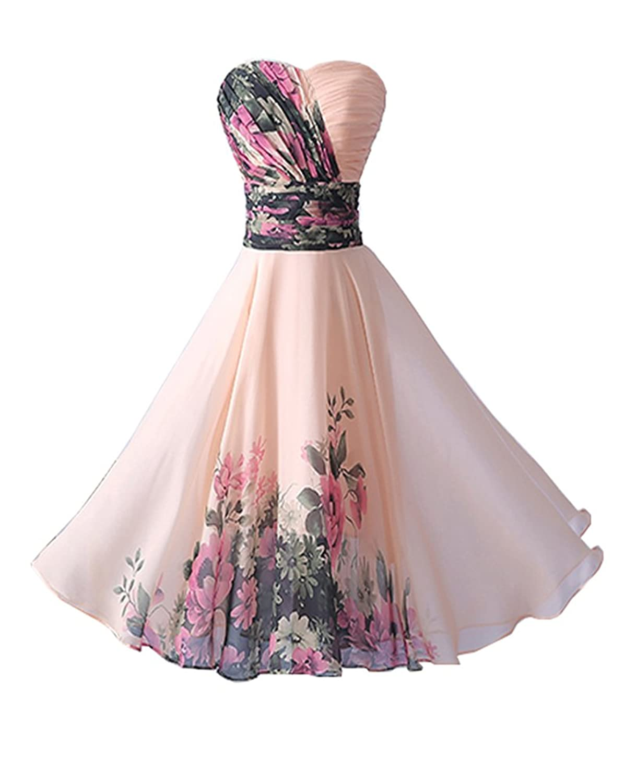 YipGrace Damen Schulterfre Blumenmuster Kurz Tanz Abendkleid Ballkleid