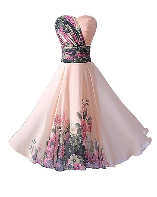 YipGrace Mujeres Elegantes Impresión Vestido Cortos De Fiesta Pink XXXXXL