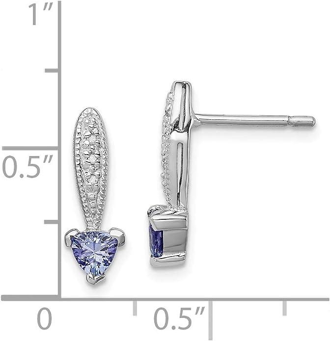 Mia Diamonds 925 Sterling Silver Solid Tanzanite and Diamond Pendant
