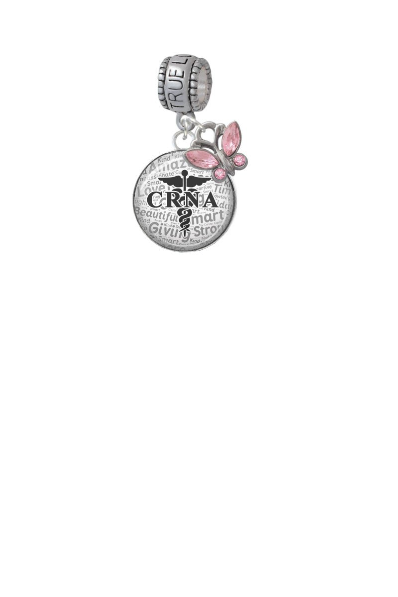 Domed Black CRNA True Love Waits Charm Hanger with Mini Pink Butterfly