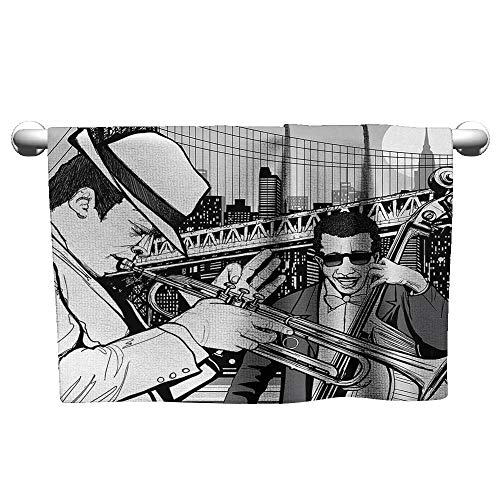 xixiBO Towels W24 x L8 Music,Illustration of Jazz Band Playing The Blues in New York in The Moonlight Retro Decor,Black White Water Absorption Multi-Purpose