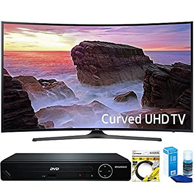 "Samsung (UN55MU6500) Curved 55"" 4K Ultra HD Smart LED TV (2017 Model) with HDMI 1080p HD DVD Player + 6ft HDMI Cable + Universal Screen Cleaner for LED TVs"