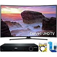 Samsung (UN55MU6500) Curved 55' 4K Ultra HD Smart LED TV (2017 Model) with HDMI 1080p HD DVD Player + 6ft HDMI Cable + Universal Screen Cleaner for LED TVs
