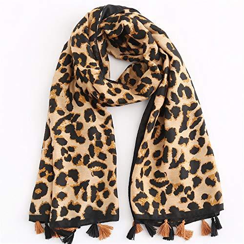 (Cotton Scarf 2019 Europe Street beat wild couple warm autumn and winter scarves cotton leopard pattern, pink,)
