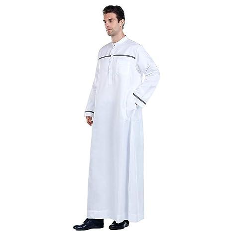 Finebo - Tobo para hombre árabe con manga larga, blanco ...
