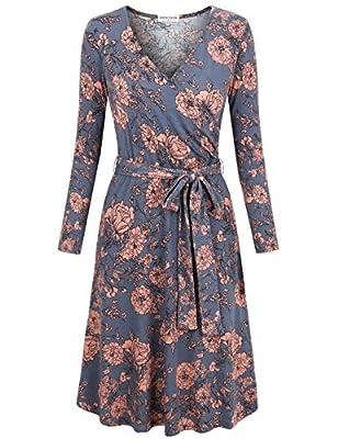 MOOSUNGEEK Women's Vintage V Neck A Line Wrap Dress with Belt