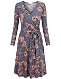 MOOSUNGEEK Floral Printed Dress, Form Fitting Dresses for Women V Neck Classy Maternity Dress T Shirt Grey Pink Flower M