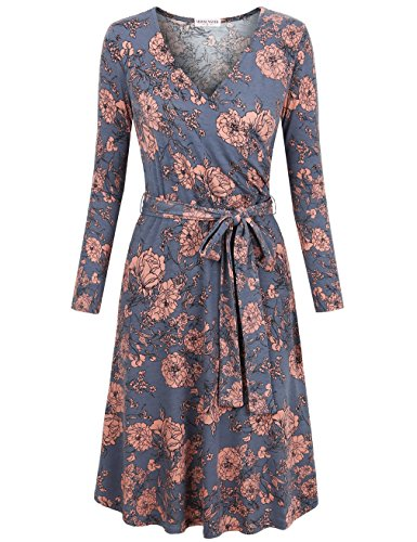 MOOSUNGEEK Wrap Dress, Girls V-Neck Knit Dresses Soft Comfortable Ruched Winter Cocktail Dress Grey Pink Flower S
