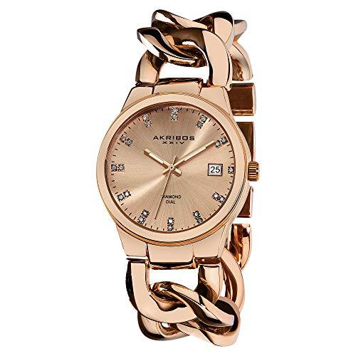(Akribos XXIV Women's Impeccable Diamond Watch - 23 Genuine Diamond Hour Markers Swiss Quartz Watch On a Twist Chain Bracelet - AK608 (Rose Gold))