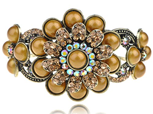 Alilang Antique Metallic Gold Floral Big Daisy Flower Crystal Rhinestone Bead Cuff Bracelet Bangle Daisy Gold Bracelets