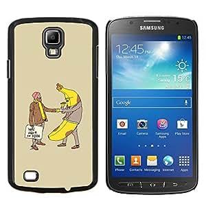 KLONGSHOP // Cubierta de piel con cierre a presión Shell trasero duro de goma Protección Caso - Plátano Hombre Alimentos Homeless divertida del lema - Samsung Galaxy S4 Active i9295 //