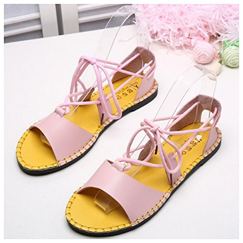 Lace Beach Fashion Pink Shoes up Flat Bohemia Gladiator TAOFFEN Women Sandals wtqvUv05