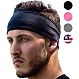 Sports Headband: UNISEX Fitness Headbands For Women & Men. Head Band Sweatband for Running, Yoga, Workout Gym Exercise. NO SLIP Sport Sweatbands & Sweat Wicking Athletic Head Wrap Bands Fit Over Hair