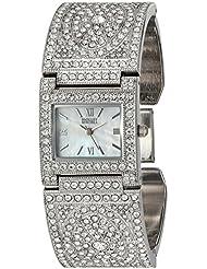 Badgley Mischka Womens BA/1365MPSV Swarovski Crystal Accented Silver-Tone Bangle Watch