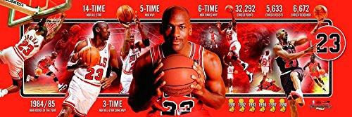NBA Basketball Michael Jordan ALWAYS Chicago Bulls - 12x36 Panoramic Photo. Frame Dimensions 15.5 x41 Deluxe Double Matt & Brown