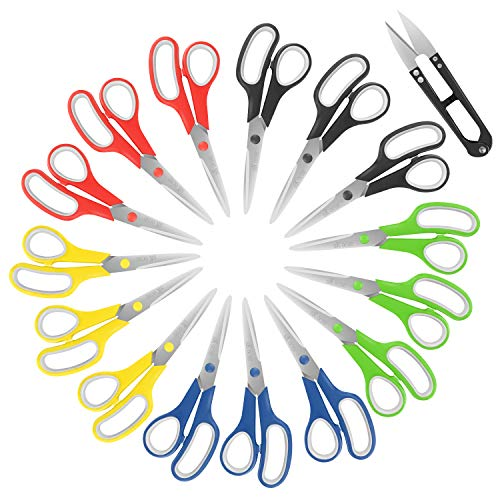Scissors, 8 Inch Soft Comfort-Grip Handles & Stainless Steel Sharp Blades Perfect for Cutting Paper, Fabric Photos, More,15 Pack & 4.1 Inch Sewing Scissors by SKOCHE