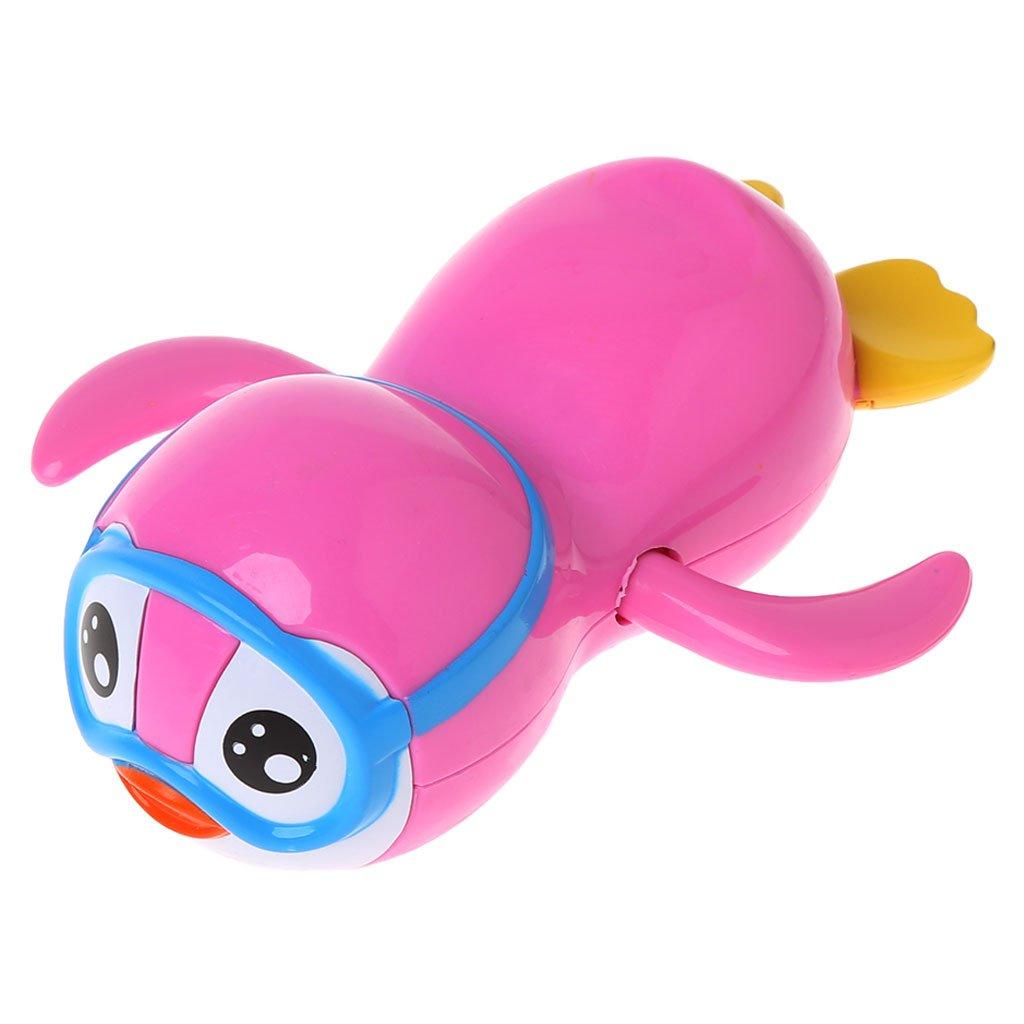 Lamdoo Neugeborene Cartoon-Kette mit Uhrwerk, Pinguin, Badespielzeug fü r Kinder, Lernspielzeug, Rosa