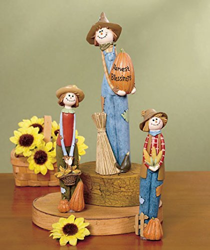 3 Pc. Smiling Scarecrows Figurine Set Table Top Accent Fall Autumn Halloween Decoration (Halloween Tabletop)