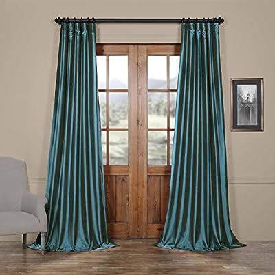 HPD Half Price Drapes PTCH-JTSP001-96 Faux Silk Taffeta Curtain (1 Panel), 50 X 96, Azul - Sold Per Panel 56% Nylon 44% Polyester Lined & Interlined - living-room-soft-furnishings, living-room, draperies-curtains-shades - 51Xrfi8v03L. SS400  -
