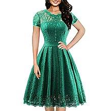 OWIN Women's Retro Floral Lace Cap Sleeve Vintage Swing Bridesmaid Dress