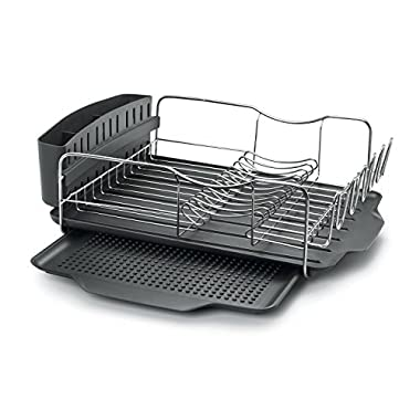 Polder KTH-615 Advantage Dish Rack and Tray 4-Piece Combo, Includes Rack, Drain Tray, Removable Drying Tray, and Cutlery Holder, Stainless Steel/Plastic