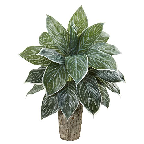 (Nearly Natural 8507 Aglaonema Artificial Weathered Oak Vase (Real Touch) Silk Plants Green)