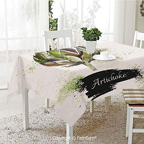 FashSam 3D Dinner Print Tablecloths Hand Drawn Delicious Fresh Vegetable Healthy Menu Good Eats Super Food Tablecloth Rectangle Table Cover for Kitchen(W55 xL72) ()