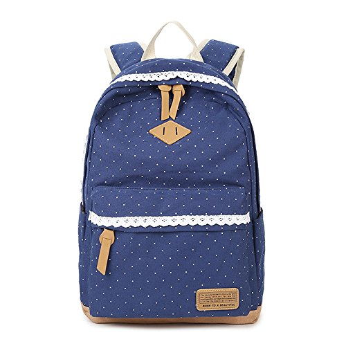 Bag Bag Canvas Girls Shoulder Case Lace Young Lightweight Backpack Geometry Blue Teen School 3 Set Backpacks Casual Pencil Dark Dot Laptop for Backpack Pcs qfwP1wtzn