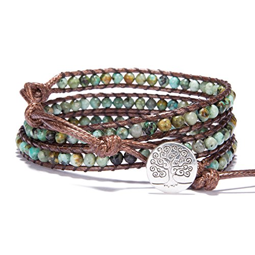 (Bonnie 3 Leather Wraps Bracelet 4mm Gemstone Beaded Handmade Tree of Life Bangle (4mm african tuoquoise))