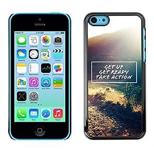 Get Up Actúa Cita de motivación - Metal de aluminio y de plástico duro Caja del teléfono - Negro - iPhone 5C