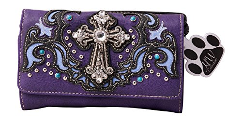 HW Collection Western Rhinestone Cross Crossbody Wristlet Clutch Wallet
