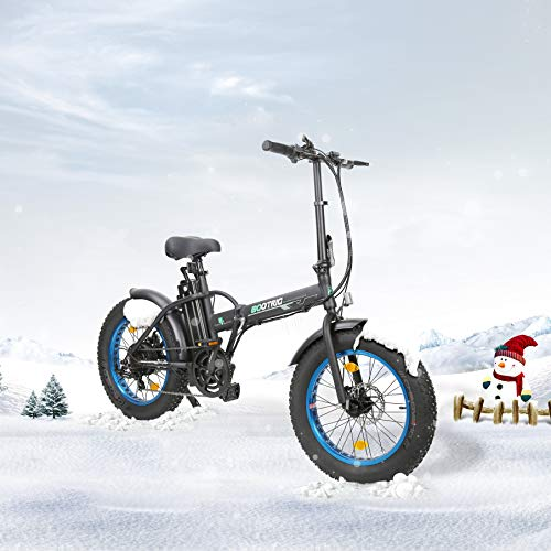 ECOTRIC 20 New Fat Tire Folding Electric Bike Beach Snow Bicycle ebike 500W Electric Moped Electric Mountain Bicycles … (Black and Blue)