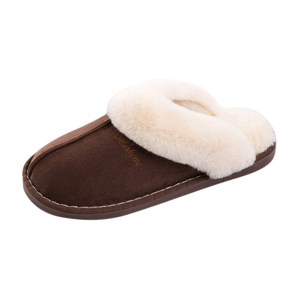 Men's Solid Fluffy Shoes - Slip-On House Indoor Outdoor Shoes Warm Slippers,2019 New