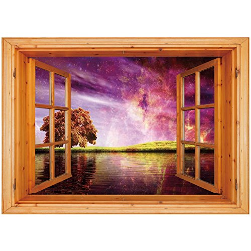 3D Depth Illusion Vinyl Wall Decal Sticker [ Magical,Supernatural Sky Scenery with Mystical Northern Solar Theme and Star Clusters Photo,Purple ] Window Frame Style Home Decor Art Removable Wall Stick - Natural Coco Stick Frame