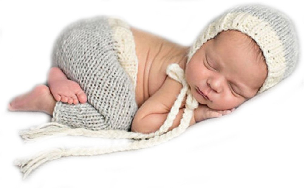 Baby Fotos Hä kelkostü m Strick Newborn Fotoshooting Hä kel Mü tze + Hose Grau 0-1M BK074 No Name