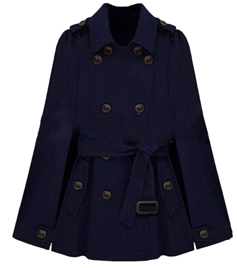 Dark bluee Generic Womens Poncho Cloak Double Breasted Wool Blend Pea Coats with Belted
